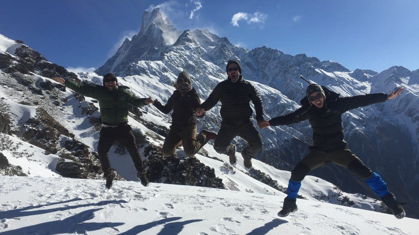 Enjoying during Mardi Himal Trekking