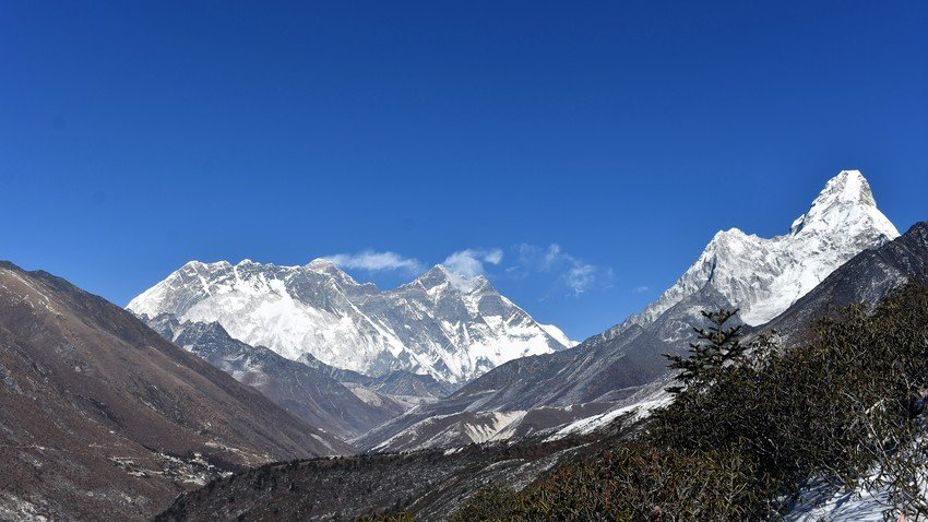 Mount Everest and Mount Ama Dablam in Khumbu Valley